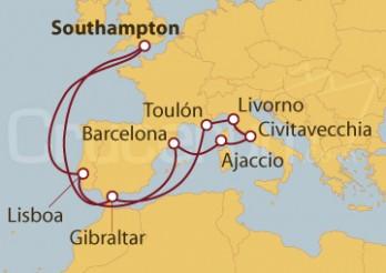 Crucero Southampton (UK), Gibraltar, Francia, Florencia, Roma, Córcega, Barcelona, Portugal