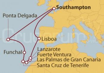 Crucero Southampton (UK), Portugal, Tenerife, Las Palmas de Gran Canaria, Fuerteventura, Lanzarote, Portugal