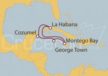 Crucero Cozumel (México), La Habana, Montego Bay y George Town