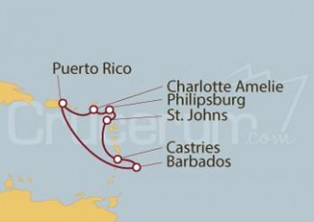 Crucero San Juan (Puerto Rico), Bridgetown, Castries, St. Johns, Philipsburg y Charlotte Amalie
