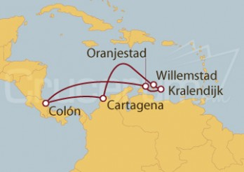 Crucero Willemstad (Curaçao), Kralendijk, Oranjestad, Colón y Cartagena