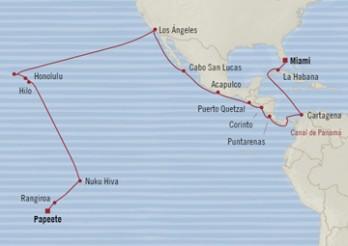 Crucero De Papeete a Miami: Itinerario Soleado