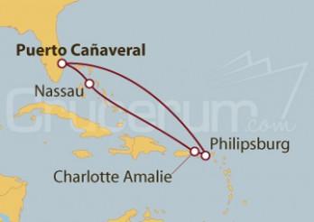 Crucero Puerto Cañaveral (Florida), Bahamas, Islas Vírgenes, St.Marteen