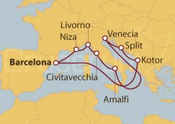 Crucero Barcelona, Niza, Florencia, Roma, Amalfi y Mar Adriático