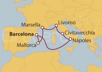 Crucero Barcelona, Mallorca, Marsella, Livorno, Civitavecchia (Roma) y Nápoles