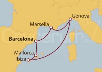 Crucero Barcelona, Palma de Mallorca, Ibiza, Génova y Marsella
