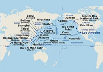 Crucero De California al Sudeste Asiático, ida y vuelta