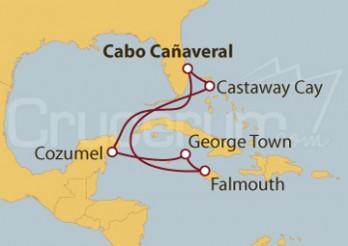 Crucero Puerto Cañaveral (Florida), Cozumel (México), Grand Cayman y Falmouth (Jamaica)