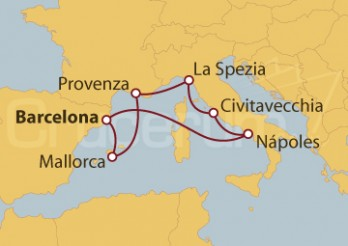 Crucero Barcelona, Palma de Mallorca, Marsella, Florencia, Roma, Nápoles