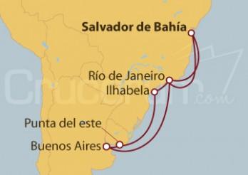Crucero Brasil, Uruguay, Argentina