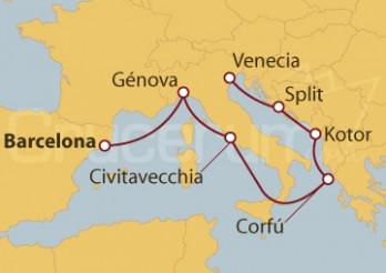 Crucero España, Italia, Grecia, Montenegro, Croacia
