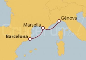 Crucero Minicrucero 2 días: Barcelona, Marsella  y Génova
