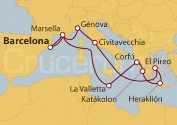 Crucero España, Francia, Malta, Grecia e Italia