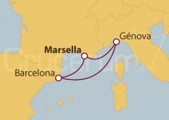 Crucero Minicrucero 4 días: Marsella (Francia), Barcelona y Génova (Italia)