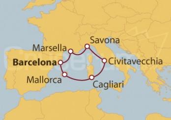 Crucero España, Islas Baleares, Italia, Francia