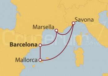 Crucero España, Islas Baleares, Italia y Francia