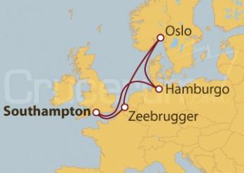 Crucero Southampton (UK), Hamburgo, Oslo y Zeebrugger