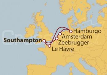 Crucero Southampton (UK), Zeebrugger, Amsterdam, Hamburgo y Le Havre