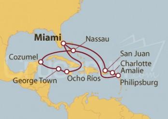 Crucero Miami (EEUU), Jamaica, Gran Caimán, México, Bahamas, Puerto Rico, Islas Vírgenes (Estadounidenses)