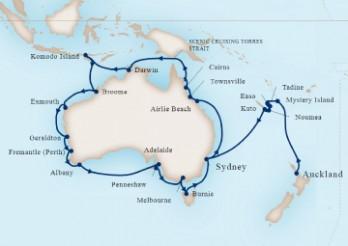 Crucero Navegando alrededor de Australia y Nueva Zelanda