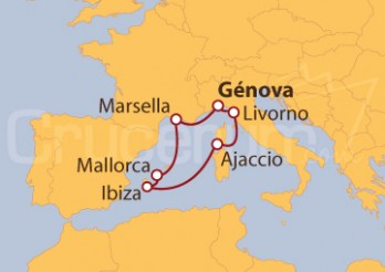Crucero Génova (Italia), Marsella, Islas Baleares, Ajaccio y Livorno
