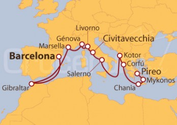 Crucero Maravilloso Mediterráneo Completo