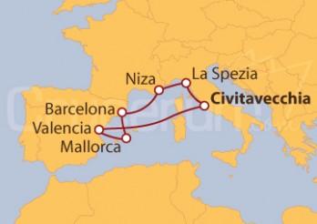 Crucero Civitavecchia, valencia, Barcelona y Niza