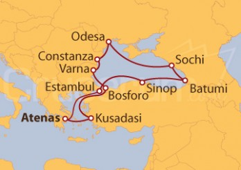 Itinerario Crucero Turquía, Bulgaria, Rumania, Ucrania, Rusia y Georgia