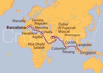 Crucero De Barcelona a Singapur