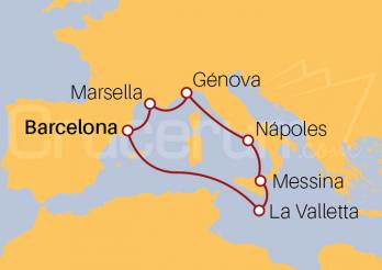 Itinerario Crucero España, Francia, Italia y Malta