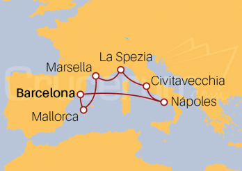 Itinerario Crucero Mediterráneo desde Barcelona