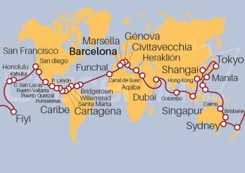Crucero Vuelta al Mundo 2021, embarque en Barcelona