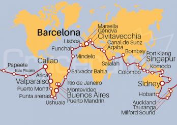 Crucero Vuelta al Mundo 2020 desde Barcelona