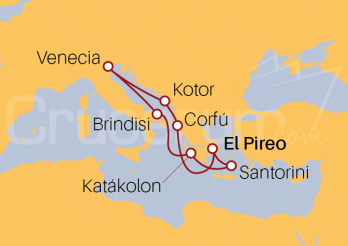Itinerario Crucero Adriático desde Pireo (Atenas)