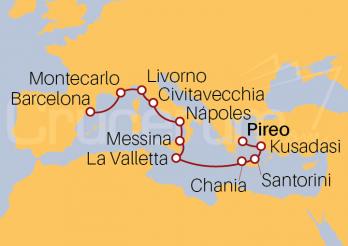 Itinerario Crucero Islas Griegas, Italia, Francia y Barcelona