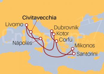 Itinerario Crucero Islas Griegas desde Civitavecchia (Roma)