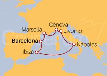 Itinerario Crucero Mar Mediterráneo desde Barcelona