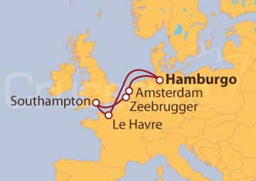 Itinerario Crucero Alemania, Francia, Reino Unido, Bélgica y Holanda