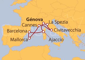 Itinerario Crucero Italia, Francia y España
