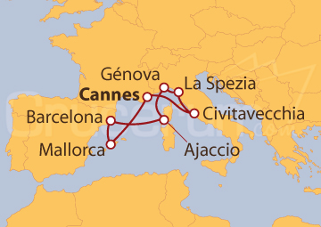 Itinerario Crucero Francia, España e Italia