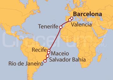 Itinerario Crucero De Barcelona a Río de Janeiro (Brasil)