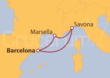 Itinerario Crucero España, Francia y Italia
