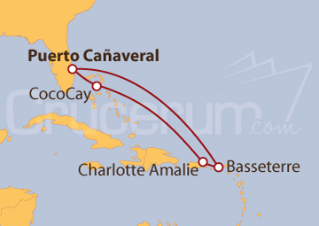 Itinerario Crucero Florida, Bahamas e Islas Vírgenes