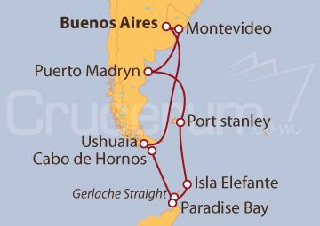 Itinerario Crucero Experiencia Antártica desde Buenos Aires