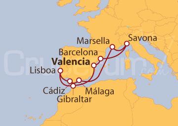 Itinerario Crucero Península Ibérica, Savona y Marsella desde Valencia