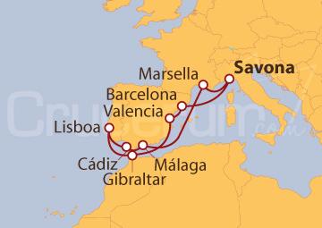 Itinerario Crucero Península Ibérica y Marsella desde Savona
