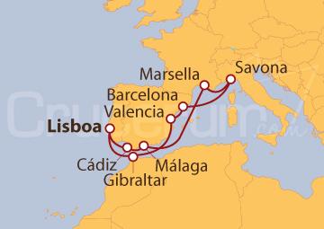 Itinerario Crucero Península Ibérica, Savona y Marsella desde Lisboa