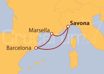 Itinerario Crucero Italia, España y Francia