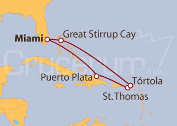 Itinerario Crucero Caribe Oriental desde Miami (EE UU)