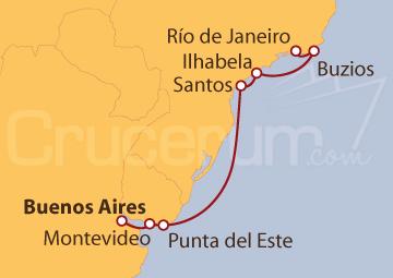 Itinerario Crucero Buenos Aires (Argentina) a Río de Janeiro (Brasil)